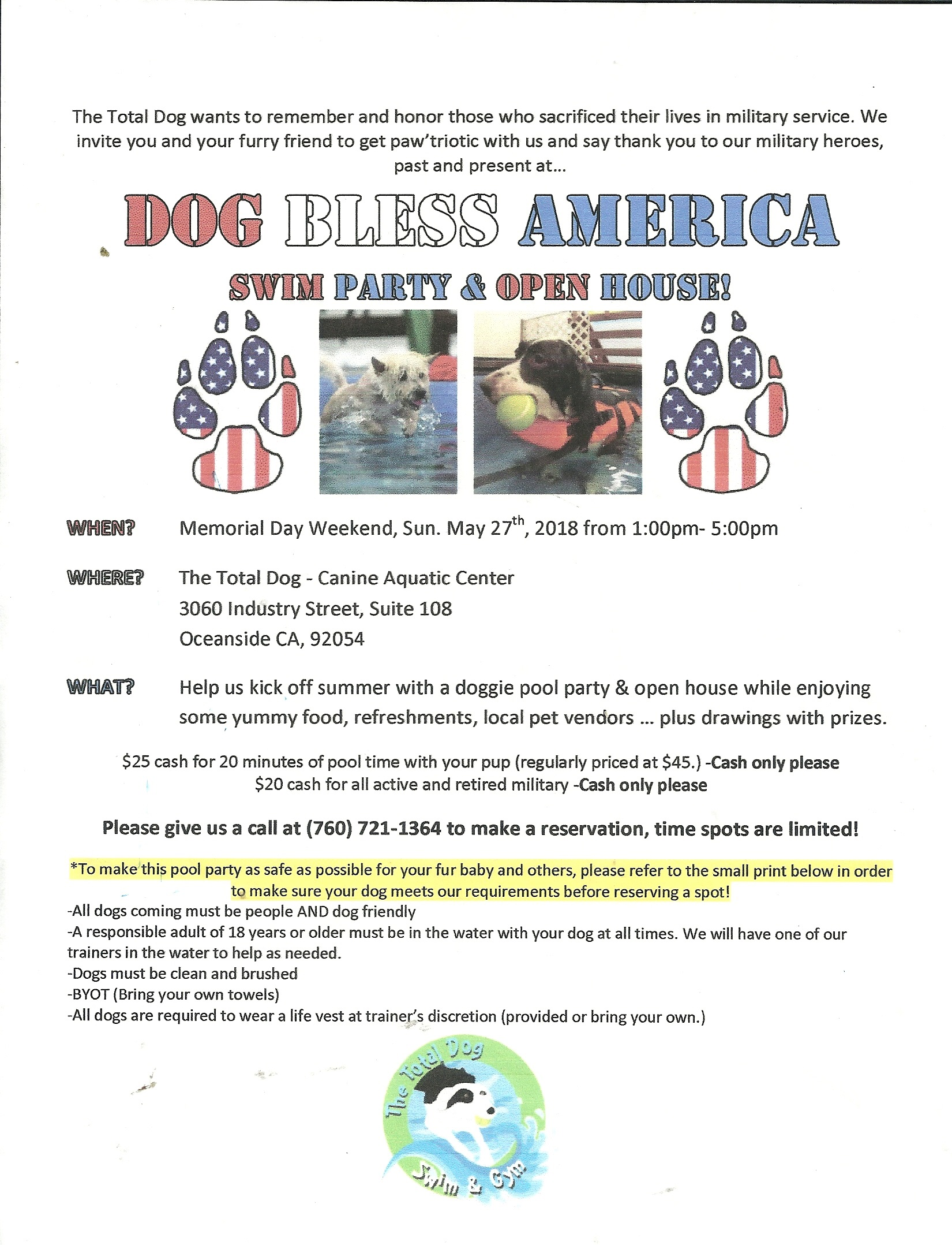 DOG BLESS AMERICA SWIM PARTY! @ The Total Dog Canine Aquatic Center | Oceanside | California | United States